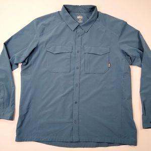 REI Button Up L/S Shirt Hiking Camping Sz XXL